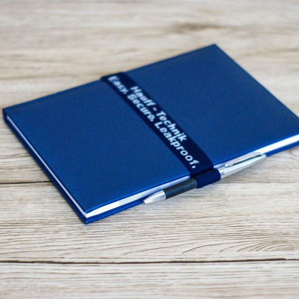 gumowa opaska na okładke kalendarza lub notesu z firmowym logo